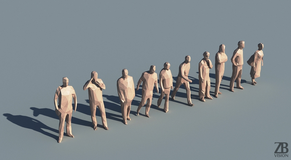 lowpoly people 3d
