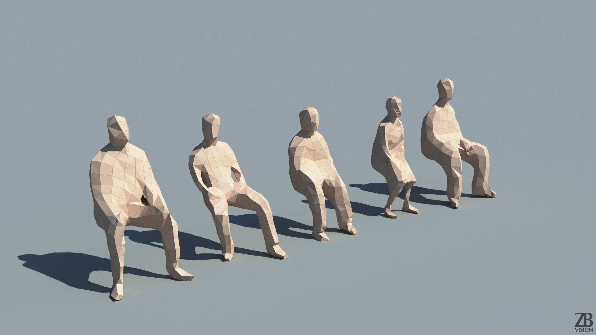 lowpoly sitting people 3d models