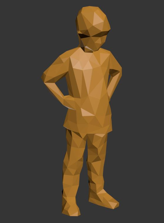 Lowpoly Kid with hands on waist 3D model